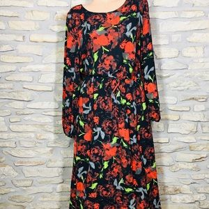 XXL Mossimo Long Red Rose Floral Plus Size Dress